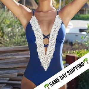 Other - 🆕 LACIE Blue Crochet Deep V One Piece Swimsuit